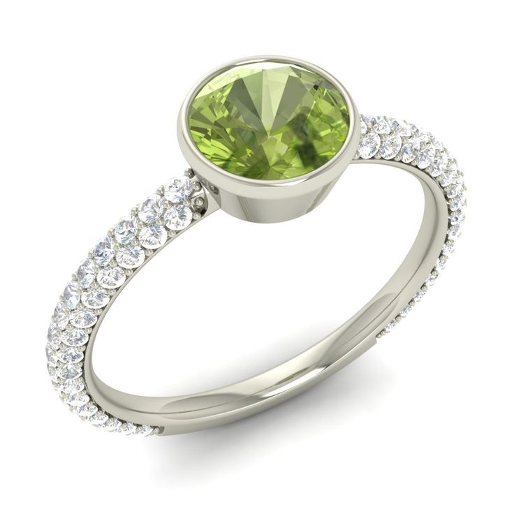 Bezel Set Engagement Ring Certified Peridot & SI/GH Diamond Ring 14k White Gold | eBay