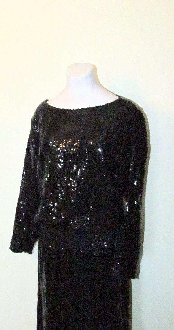 Sparkling Black Vintage 1960's/70's Sequin by BeauMondeVintage, $78.00