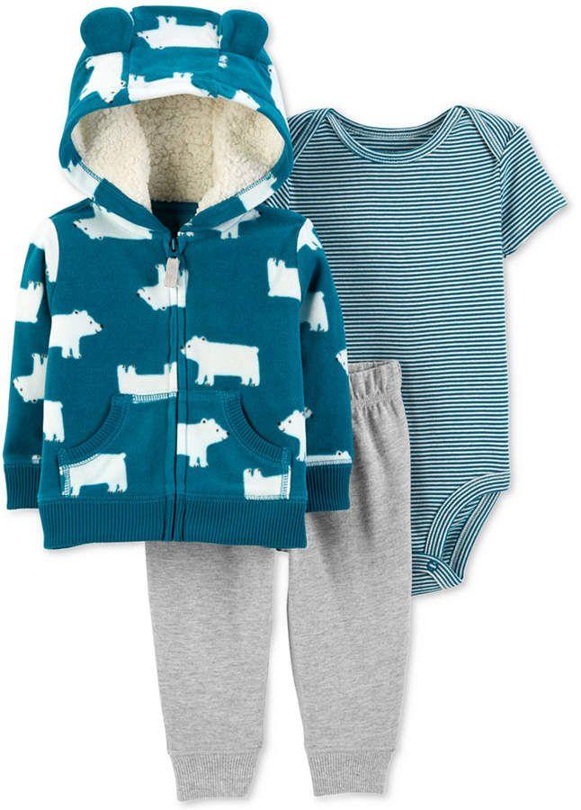 a4d79a732c5 Carter Baby Boys 3-Pc. Polar Bear Hoodie