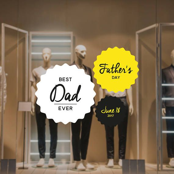 Fathers day retail display sticker set removable window vinyl decal shop window sticker