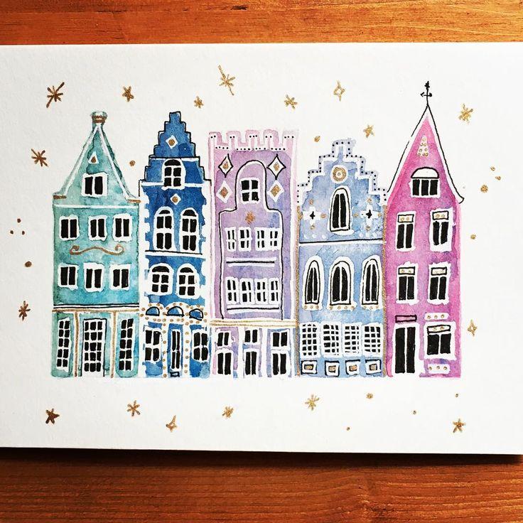 Envie soudaine de dessiner des bâtiments ✨🏠✨#watercolor #aquarelle #cityscape #starrynight #bruges