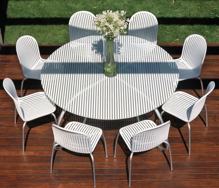 Set 1 Mesa Loto Dinner + 8 Sillas Ninfa Dinner Blanca