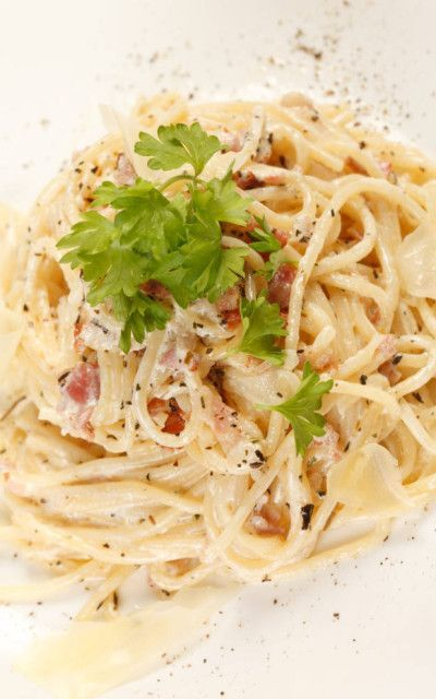 Spaghetti Carbonara. You can make this and be eating in 25 minutes!! #foody