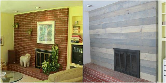 reface the fireplace from brick to wood remodeling