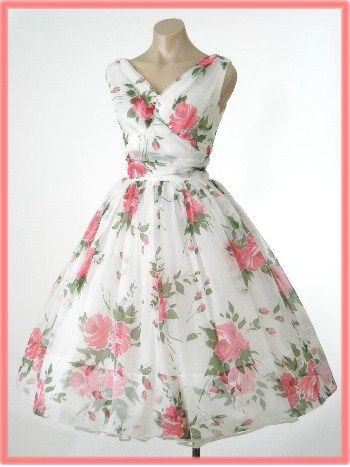 50s 60s Rose Print Chiffon Tea Length Party Dress-Informal Wedding Dress
