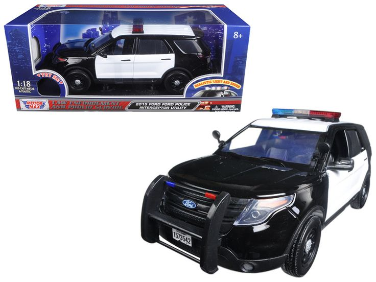 2015 Ford Police Interceptor Utility Black and White with Flashing Light Bar, Front and Rear Lights and 2 Sounds 1/18 Diecast Model Car by Motormax - Brand new 1:18 scale diecast model of 2015 Ford Police Interceptor Utility Black and White with Flashing Light Bar, Front and Rear Lights and 2 Sounds die cast car model by Motormax. Has two sounds. When pressing the button once you hear one sound, when pressing it again you can hear another sound. Brand new box. Rubber tires. Has steerable…