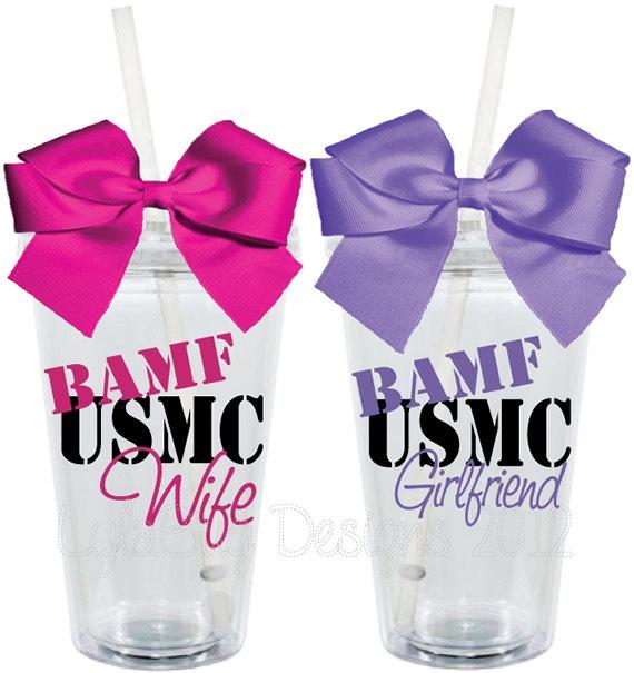 76dbe8f6b67 BAMF USMC Wife Girlfriend 16oz Personalized by LylaBugDesigns