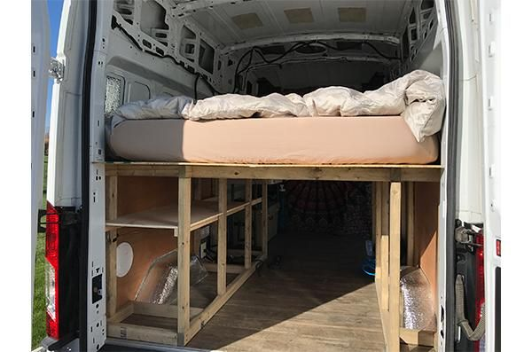 Ford Transit Van Conversion Building The Raised Bed In 2020