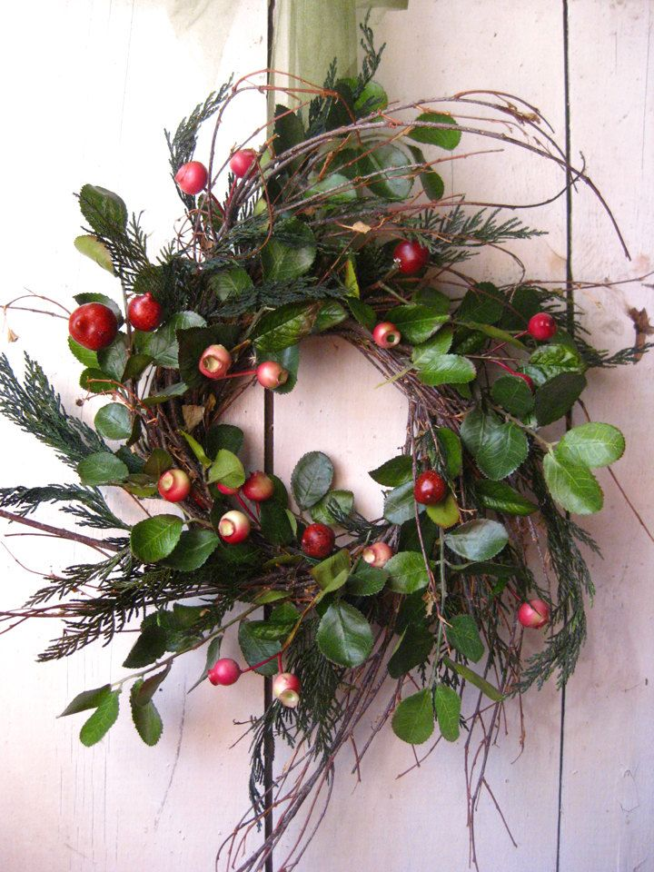 Colonial Christmas Wreath - Winter Wreath - Evergreens - Berry - Green Red. $67.00, via Etsy.
