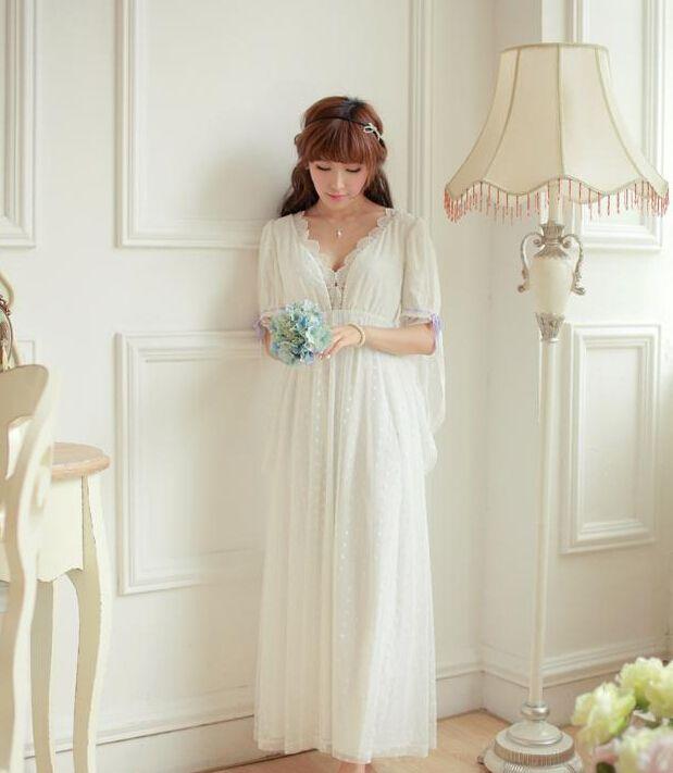 Livraison gratuite dentelle douce gaze femmes longue chemise de nuit princesse Pyjamas Beige vêtements de nuit roupas de dormir femininas(China (Mainland))