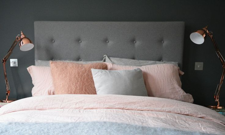 The colour palette = Grey . Copper . Pink
