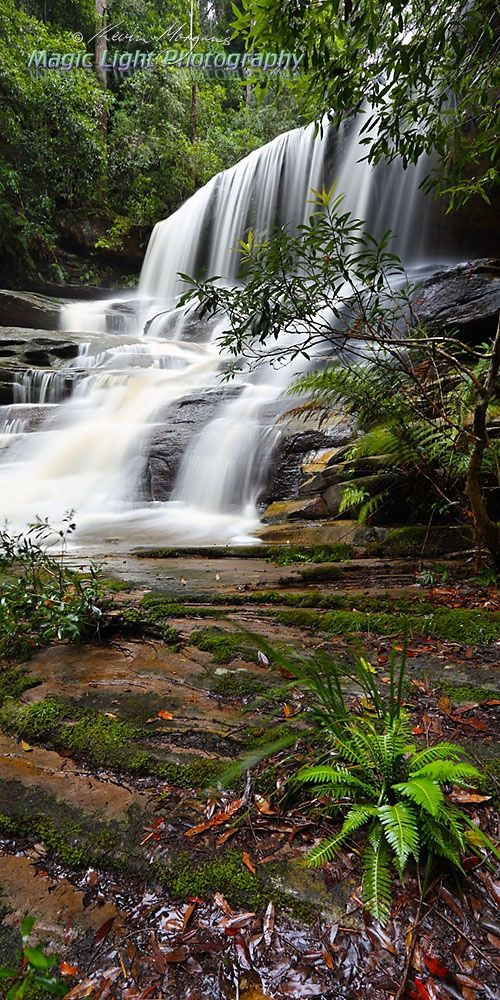 Somersby Falls Apr vertical panorama - Vertical panoramic image of the lower falls at Somersby Falls on the New South Wales Central Coast.