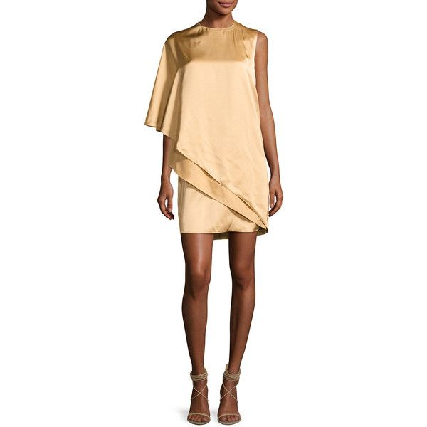 Ralph Lauren Collection Kayla Draped One-Shoulder Dress (2,660 CAD) ❤ liked on Polyvore featuring dresses, sand, beige cocktail dress, one sleeve dress, layered shift dress, drape dress and one sleeve cocktail dress