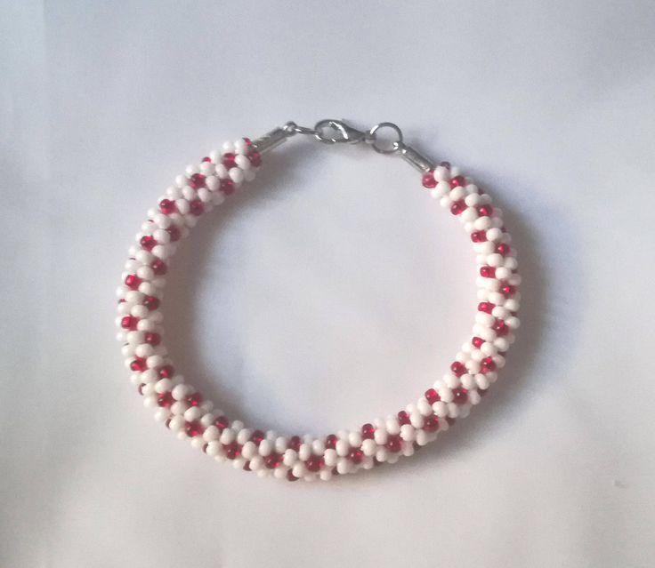 White and red handmade beaded bracelate (Kumihimo) - Memet Jewelry by MyMemet on Etsy