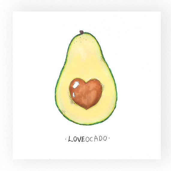 Art Print Loveocado loveavocadovalentines by OdelDrawings on Etsy