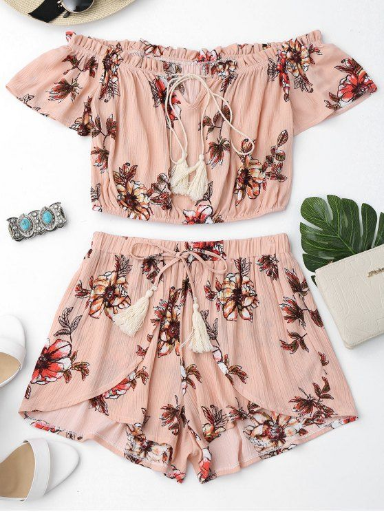 $15.49 Floral Off Shoulder Ruffles Top and Tulip Shorts - SHALLOW PINK L