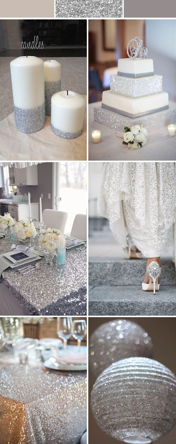 silver grey wedding ideas with sequins and glitters