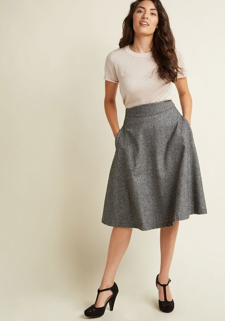 Prim Class Hero Midi Skirt in Charcoal Attend lectures and presentations with straight-A style in this charcoal tweed skirt! Part of our ModCloth namesake label, this midi comes with handy pockets and a silky lining, giving you all the 'demure' reason to excel in and outside of class!