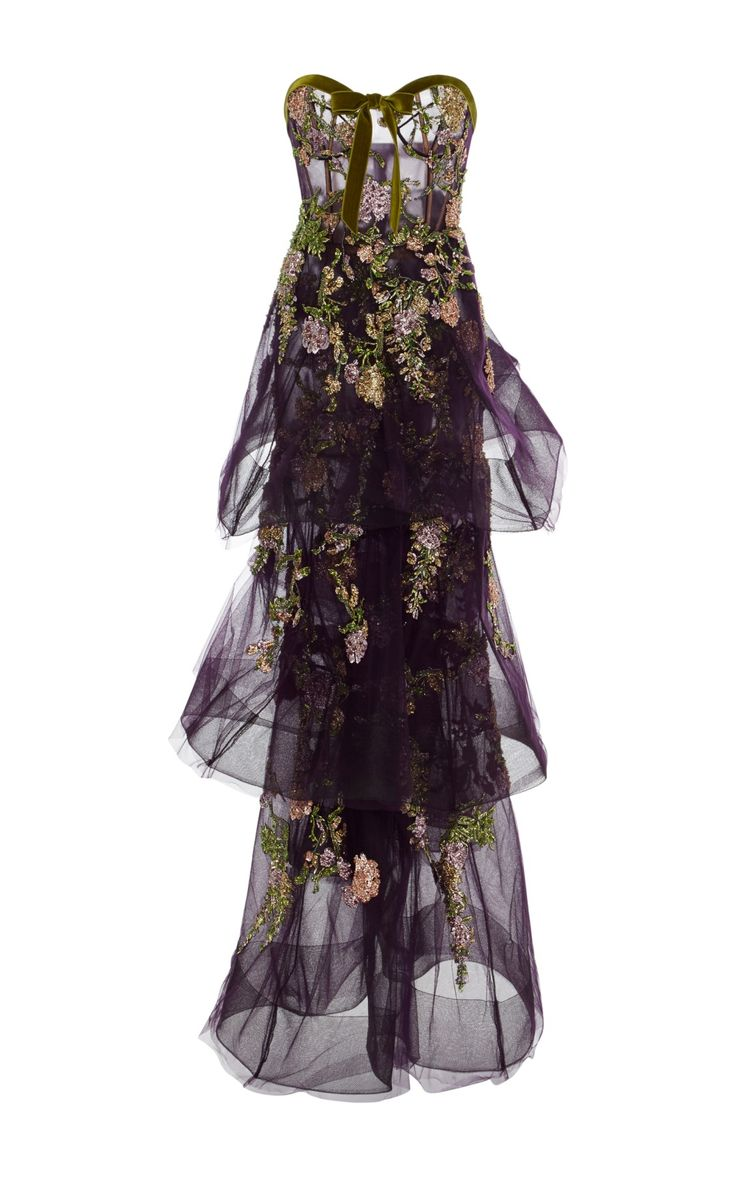 Tiered Embroidered Tulle Gown by Marchesa