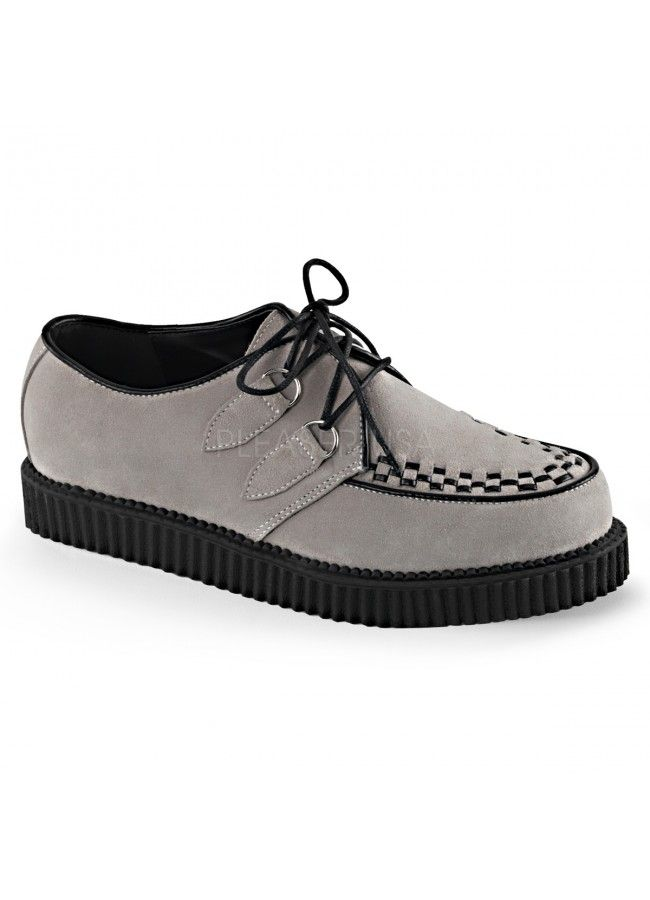 Rockabilly Mens Gray Suede Creeper Loafer at Gothic Plus, Gothic Clothing, Jewelry, Goth Shoes, Boots & Home Decor