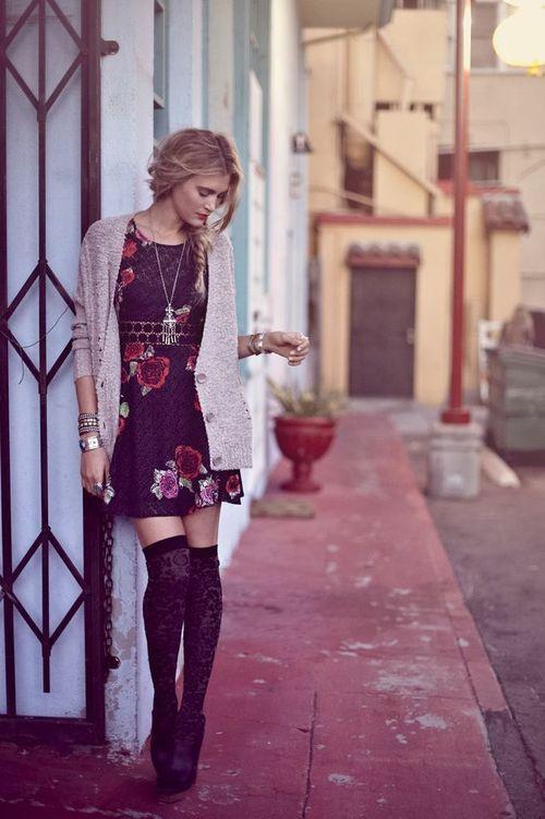 Cute dress and thigh high socks