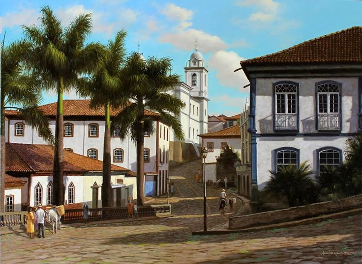 Diamantina (MG) - Pintura de José Rosário ✮ Diamantina (Minas Gerais - Brazil) - Jose Rosario Painting ☆ Para mais imagens de Minas Gerais, acesse: https://br.pinterest.com/sbazote/minas-gerais ☆ For more images of Minas Gerais in Brazil, visit: https://br.pinterest.com/sbazote/minas-gerais