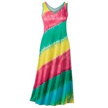 Rainbow colors in bold, bias bands circle a fun-to-wear Rainbow Tie-Dyed Maxi Dress of soft, supple viscose/spandex knit. This tie-dye print is a standout for strolling the beach, pool parties or relaxing at home. Pullover tank style, maxi length. Machine wash. Imported. Misses, approx. 51l.