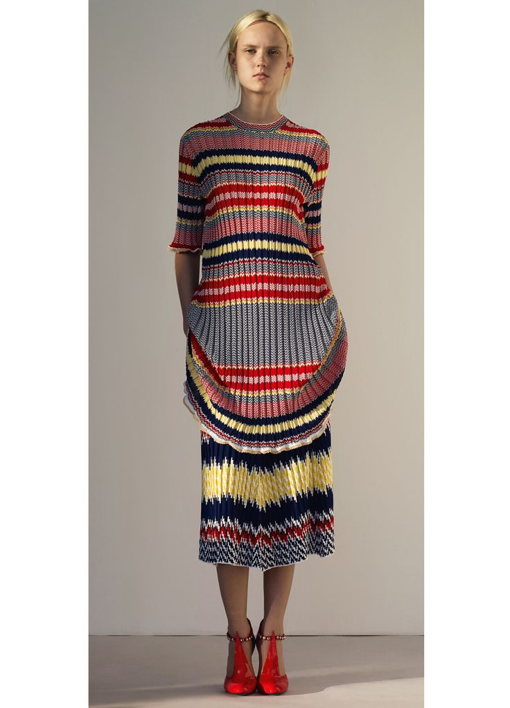 Look 19 Celine 2015 spring Dress in Red Jacquard Striped Knit