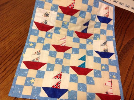 Miniature Red White and Blue Sailboat paper pieced by AQuiltIsBorn, $35.00