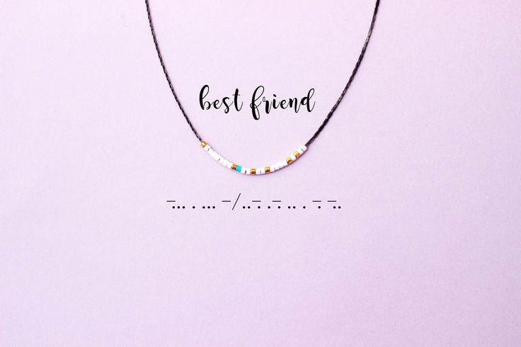 Dainty friendship necklace spells out best friend in morse code. It uses morse code to convey secret words, special messages, feelings or moods. These unique pieces of jewelery send out your own hidden message to the world.  Details:  - 16 black chain - Miyuki delica beads - 14k gold plated beads - lobster claw clasp  Size: 16  Please write me a note at checkout if youd like me to customize the color. If you have any question about this item, please feel free to contact me.