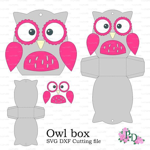 Chouette boîte modèle bébé douche animaux oiseaux partie svg