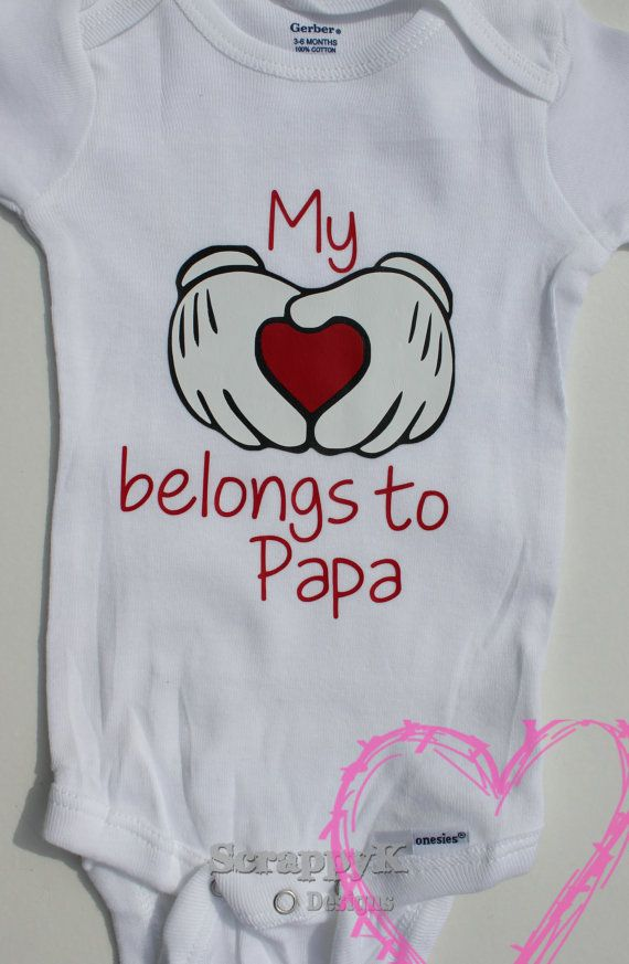 My Heart Belongs to Papa Baby Onesie Creeper Romper baby boy baby girl baby shower