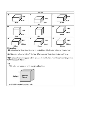 volume of 3d shapes cube cuboid volume worksheets. Black Bedroom Furniture Sets. Home Design Ideas