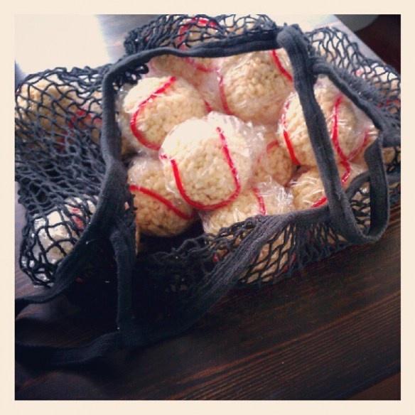 Baseball rice krispy treats.