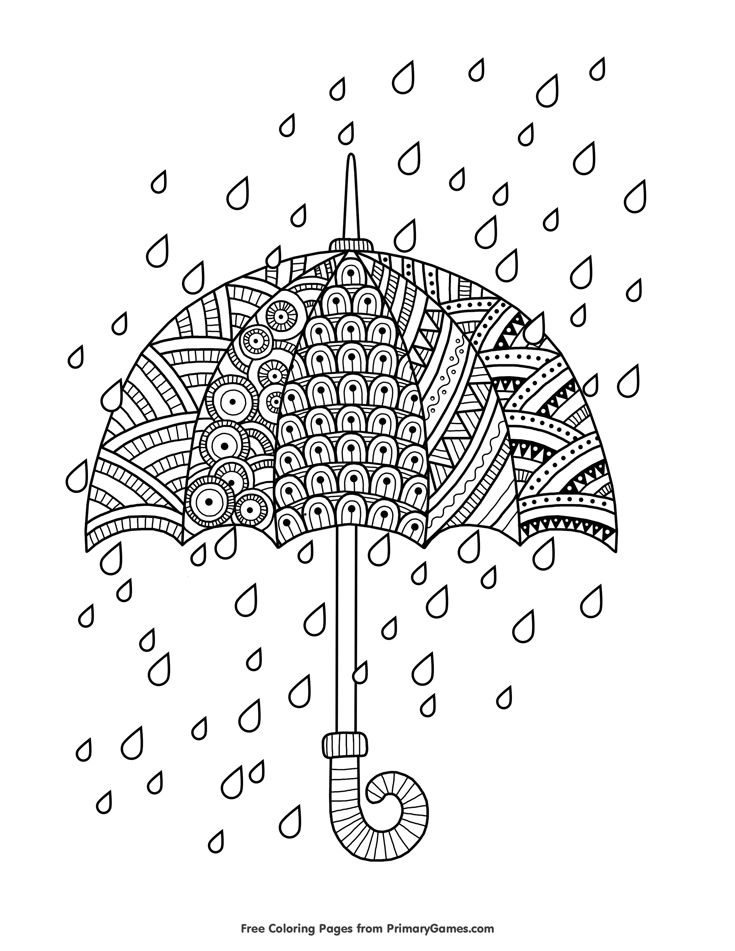 Spring Coloring Page Rain Drops with Umbrella Coloring