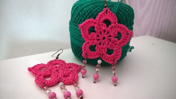 Pink Boho Flower Crocheted Earrings with Beads -10% discount!spedizioni gratuite verso l'Italia!