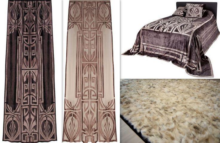 Klasyka w wydaniu Art. Deco. Sypialnia w stylu Nowy York, lata 20-ste. Kolekcja Sue Wong Hollywood (firany, narzuta, poduszki) połączona z dywanem (futro wilka jasny beż). Produkty dostępne tylko w In Situ! Powsińska 20A Warszawa.