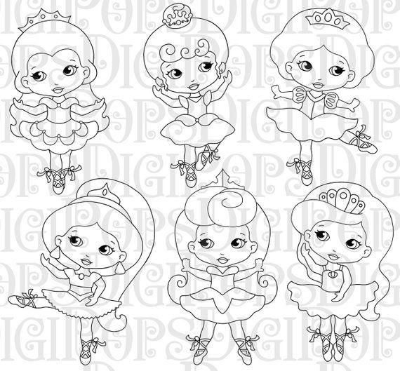 Little Princess Ballerinas Black And White Digital Clip Art Etsy Digital Clip Art Set Digital Clip Art Clip Art