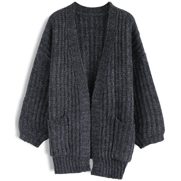 Chicwish Get My Cozy Open Front Ribbed Knit Cardigan in Smock ($55) ❤ liked on Polyvore featuring tops, cardigans, black, open front tops, smock top, ribbed knit cardigan, cardigan top and rib knit top