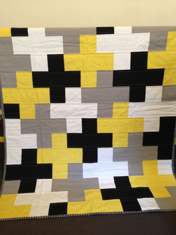 Cross Quilt Grey Yellow Black Plus Cot Quilt by RosaleesRoom