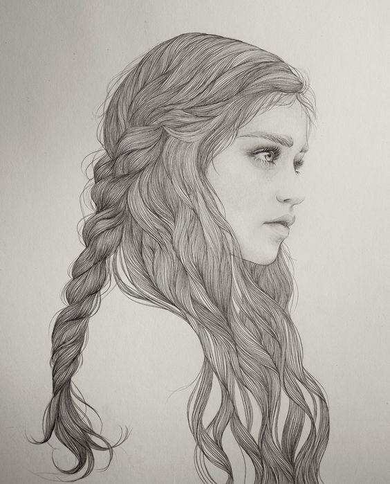 Pretty Girl Hair Drawing | Kunstwerke, Portrait and Porträtillustration on Pinterest