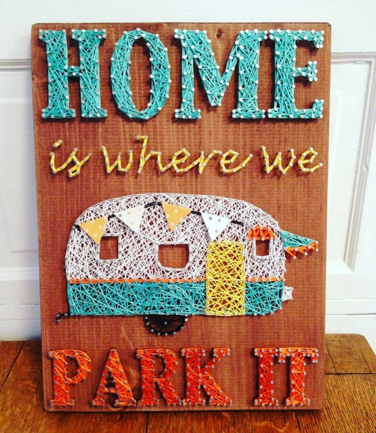 Home Is Where We Park It string art with vintage trailer and paper bunting - pinned by pin4etsy.com