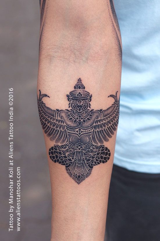 Lord Garuda Tattoo by Manohar Koli at Aliens Tattoo,Mumbai. Garuda is a Hindu divinity, usually the mount of Lord Vishnu. Client wanted the tattoo but not with the realism instead something distinct. So I worked on it using the dot work avidly. Client loved the unique concept of dot work as it enhanced the beauty. Share it if you like it. :)