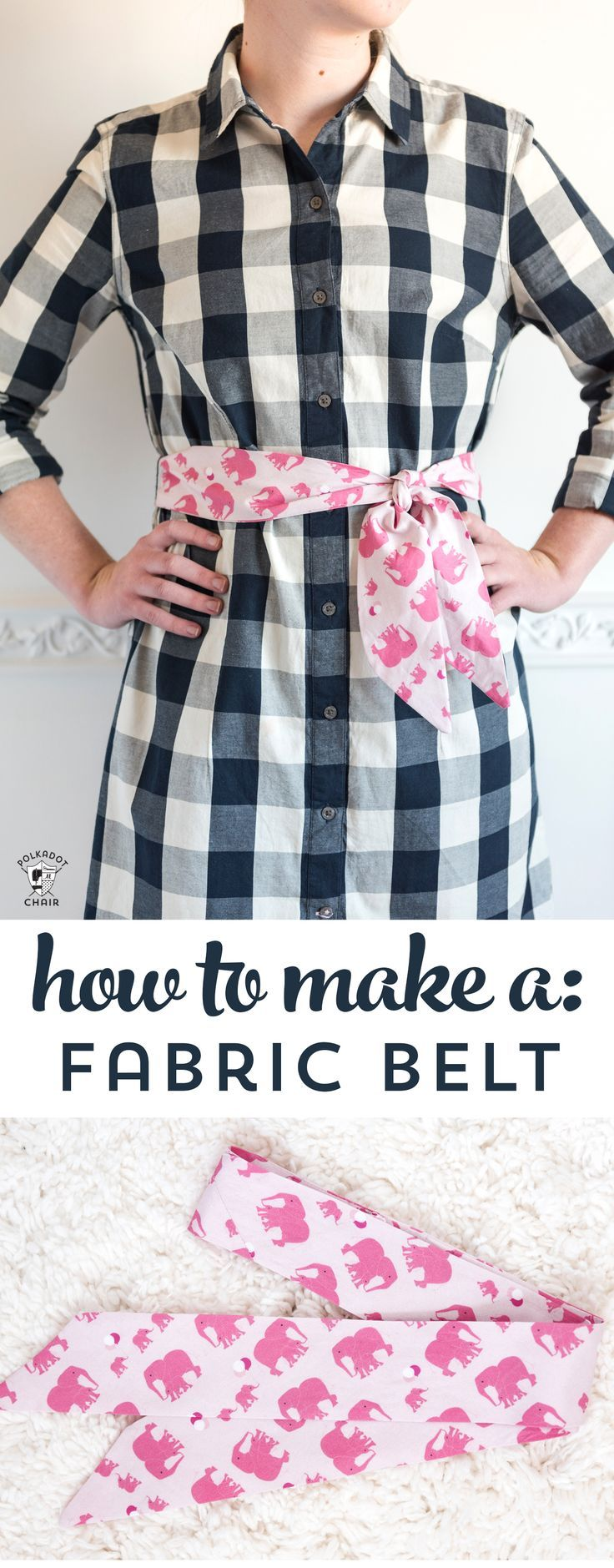 Learn how to make a fabric belt or sash with this free sewing tutorial. Can be m...