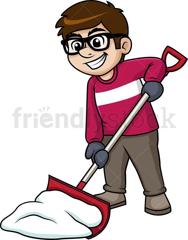 Snow cartoon. Man shoveling christmas vector