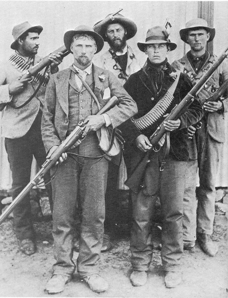 These are some Boer guerrillas from the second Anglo-Boer War. The English ended up in control and tried to make English the official language. The Boers didn't like that and considered Afrikaans the people's language.