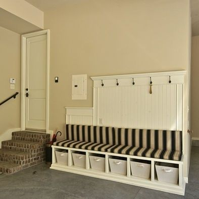 No mudroom? Love this garage alternative! Could I put this on the carport? With outdoor cushions and weather resistant baskets...it's fairly protected...