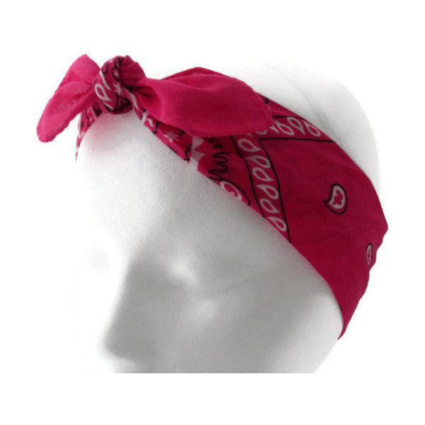 Bandana Headband, Bow Headband, Teen, Woman, Girl, Adult, Hot Pink ($5) ❤ liked on Polyvore featuring accessories, hair accessories, bow headband, bandana bow headband, cotton bandana, bow tie headband and headband bandana
