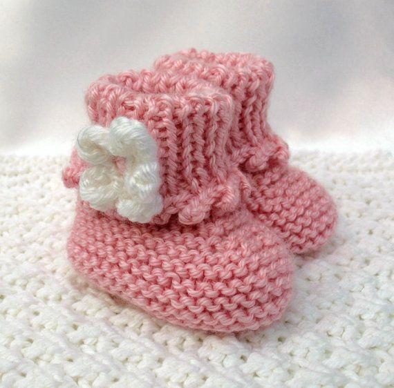 Baby Stovler Booties Knitting Pattern : Pink Baby Booties Hand Knit Baby Booties Newborn Infant ...