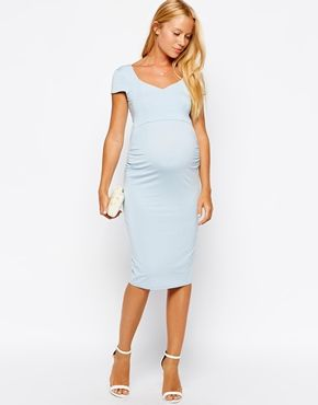 Enlarge ASOS Maternity Bodycon Dress With Sweetheart Neck And Cap Sleeve